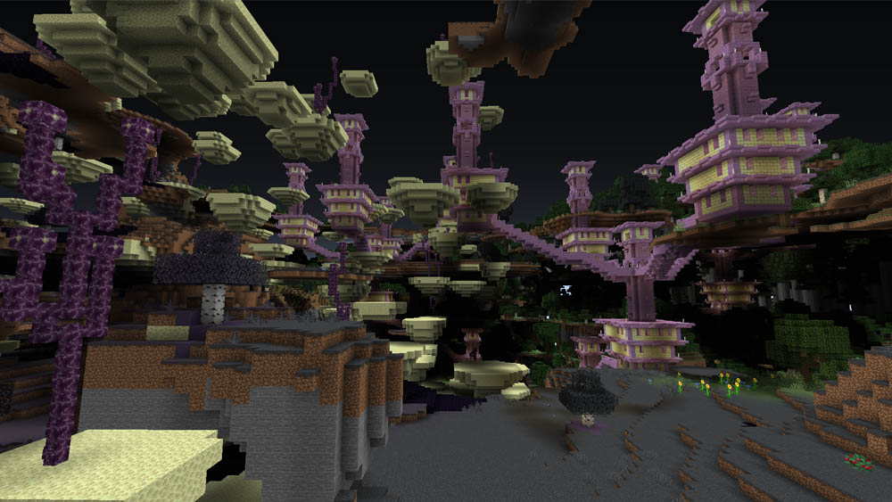 The new End biome with an End City in the Overworld!
