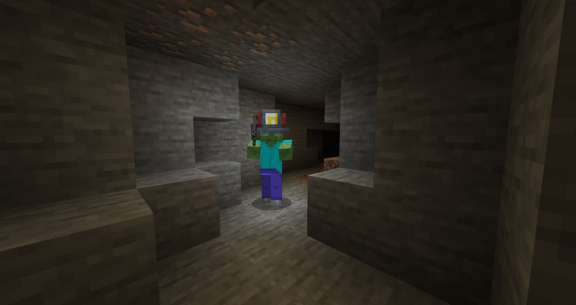 A naturally spawning Miner Zombie