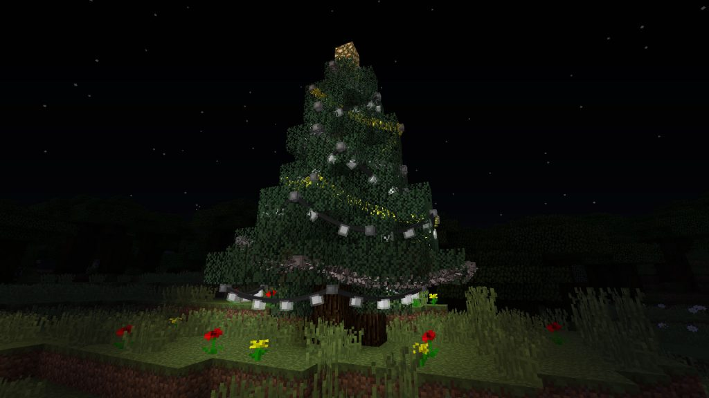 Tree with Garland and Lights