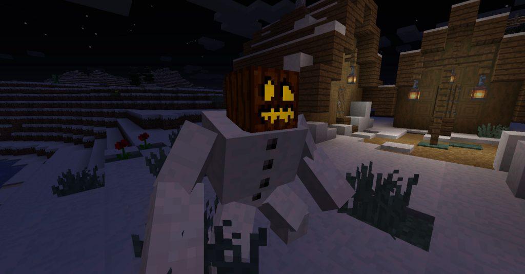 Mutant Snow Golem at night